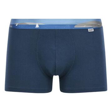 Bóxer azul de algodón elástico con la cintura estampada , , DIM