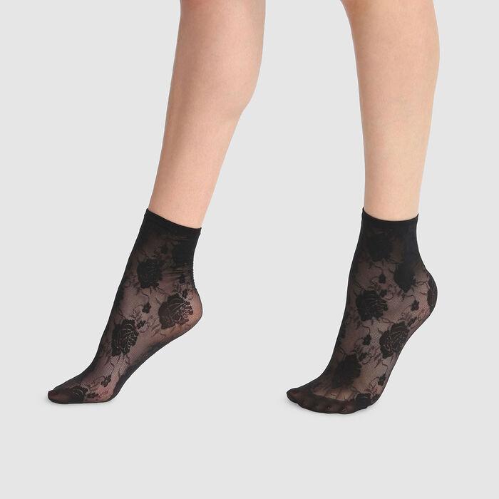 Calcetines bajos de fantasía estampado de rosas de encaje negro Style 33D, , DIM