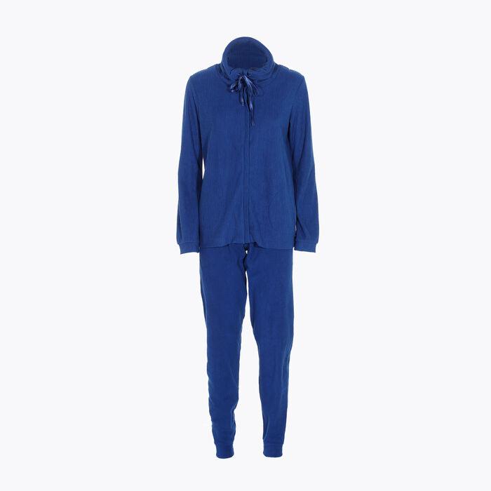 Conjunto de pijama de lana polar azul para mujer, , DIM