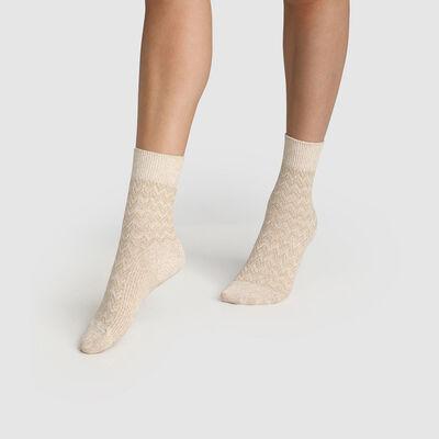 Calcetines para mujer de algodón estampado de espigas marfil beige Made in France, , DIM
