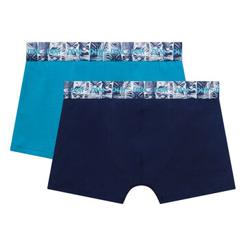 Pack de 2 bóxers niño de algodón azul noche y turquesa - Box Hawai, , DIM