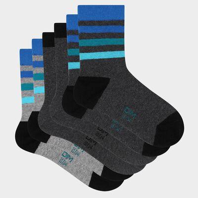 Pack de 3 pares de calcetines para niño de rayas azul gris Coton Style, , DIM