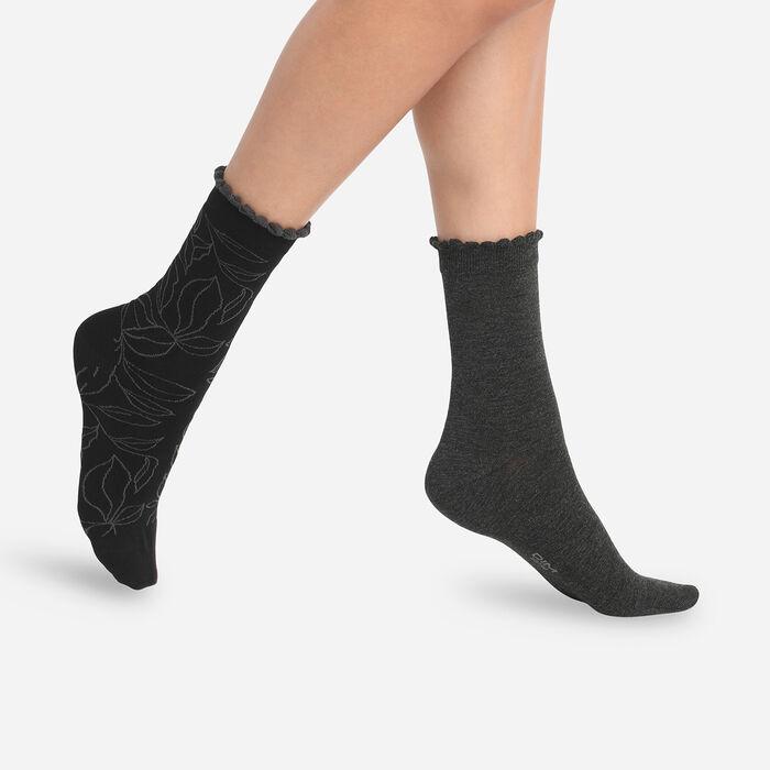Juego de 2 pares de calcetines de mujer hojas XL Antracita Dim Bambú, , DIM