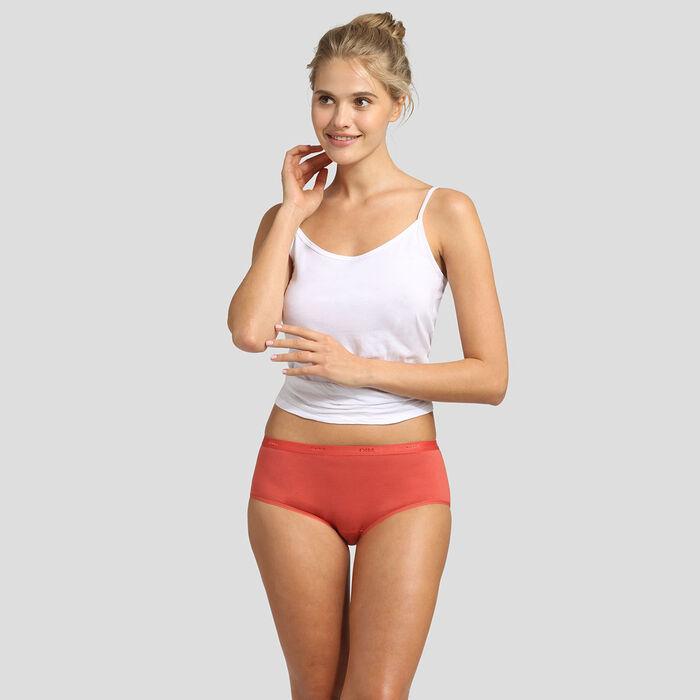 Pack de 3 culottes de algodón elástico rosa, rojo y blanco Les Pockets EcoDim, , DIM