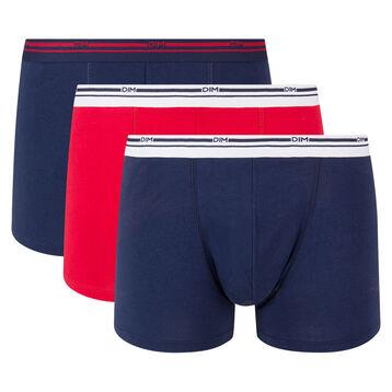 Pack de 3 bóxers de algodón elástico azul denim y rojo Daily Colors , , DIM