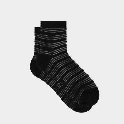 Calcetines para mujer de algodón y velo de rayas negro Coton Style, , DIM