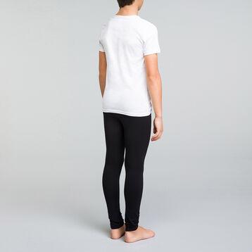 Camiseta de manga corta blanca de algodón y cuello pico niño - Dynamic, , DIM