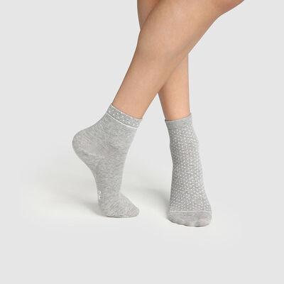 Pack de 2 pares de calcetines bajos para mujer de algodón bio de lunares gris Green by Dim, , DIM