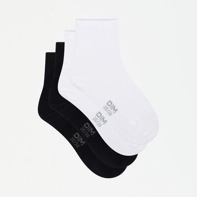 Pack de 2 pares de calcetines modal mujer negros y blancos Dim Modal, , DIM