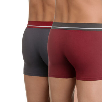 Lot de 2 boxers rouge et gris en coton stretch Soft Touch-DIM