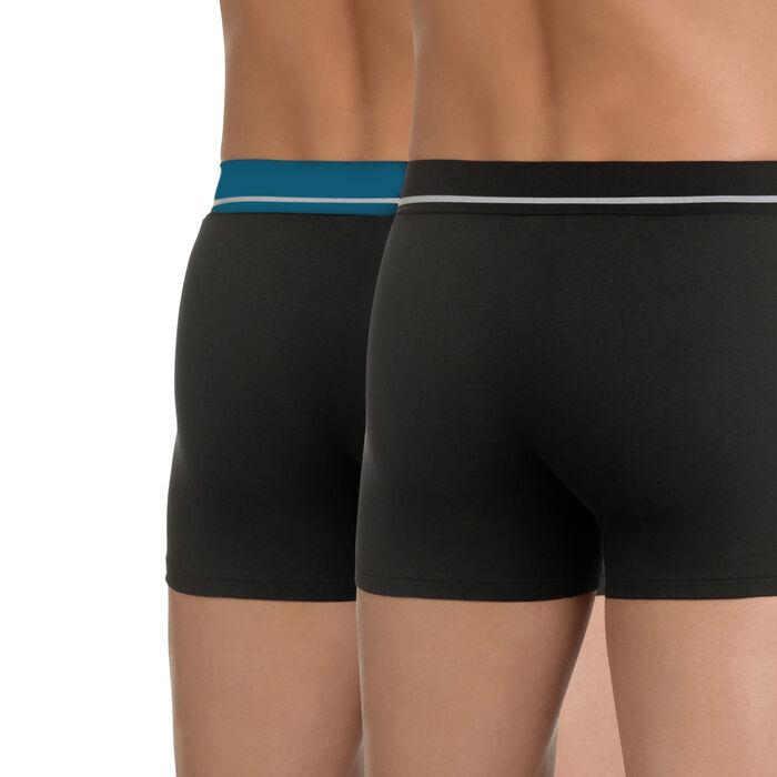 Pack de 2 bóxers negros de algodón elástico Soft Touch, , DIM