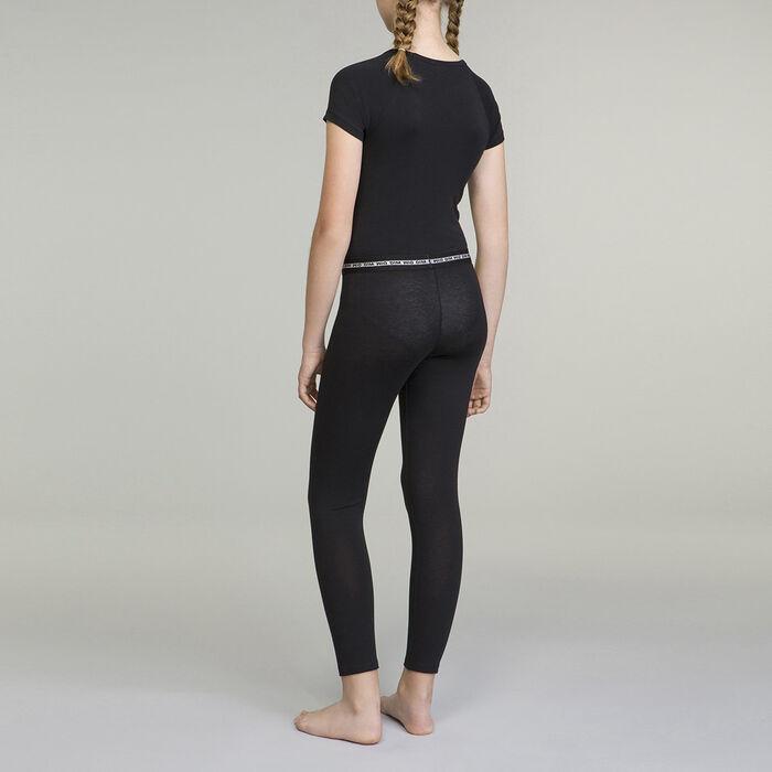 Camiseta negra de manga corta de algodón elástico niña Dim Sport, , DIM