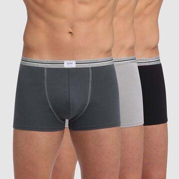 Pack de 3 bóxers gris y negro de algodón elástico resistente Ultra Resist, , DIM