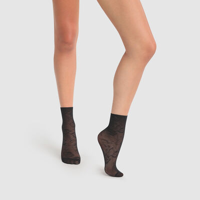 Calcetines fantasía negros con motivos de encaje con estampado de anémonas Dim Style 35D, , DIM