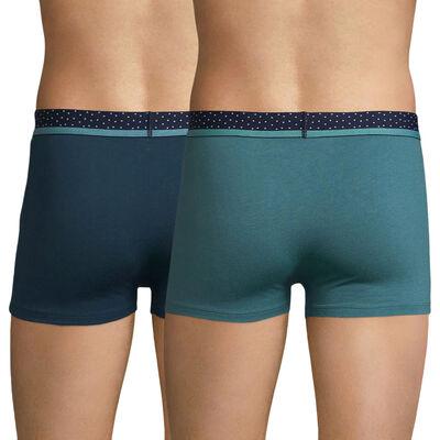 Pack de 2 bóxers verde y azul con cintura plumetis - Mix and Dots, , DIM