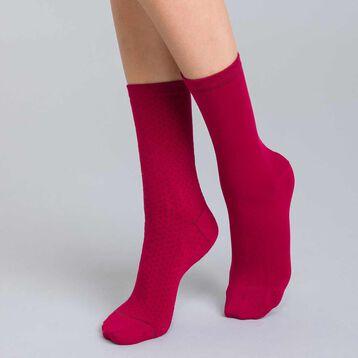 Lot de 2 chaussettes bordeaux en coton plumetis Femme-DIM