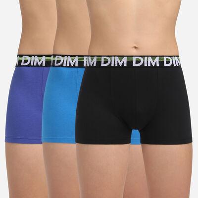 Pack de 3 bóxers azules y negro niño de algodón elástico Promo Eco Dim, , DIM