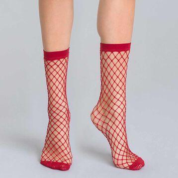 Socquettes résille filet rouge intense 54D Style-DIM