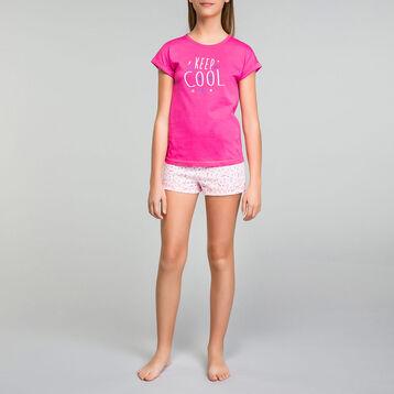 Pijama corto de niña de algodón rosa chicle - Nuit Cool, , DIM