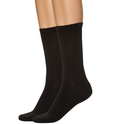 Lote de 2 calcetines de media pantorrilla negros segunda piel para mujer, , DIM