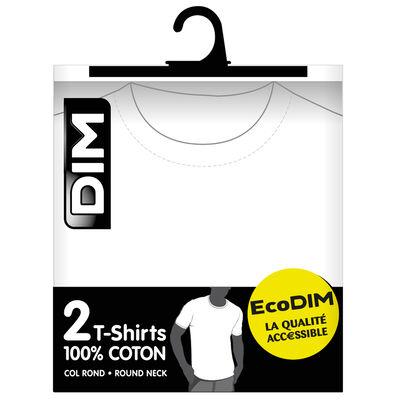Pack de 2 camisetas blancas de cuello redondo 100% algodón EcoDIM, , DIM