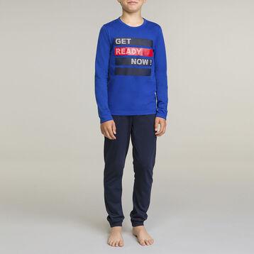 Pijama de manga larga para niño 2 piezas azul , , DIM