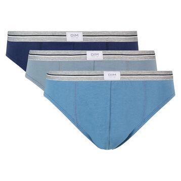 Pack de 3 slips azul y gris de algodón elástico resistente Ultra Resist, , DIM