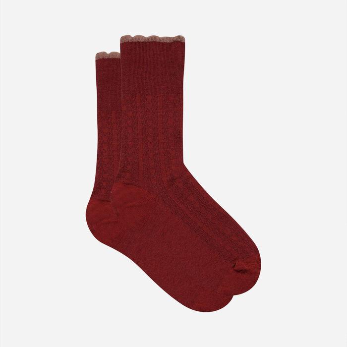 Calcetines de lana para mujer con banda superior de fantasía Rojo Cardenal Dim, , DIM