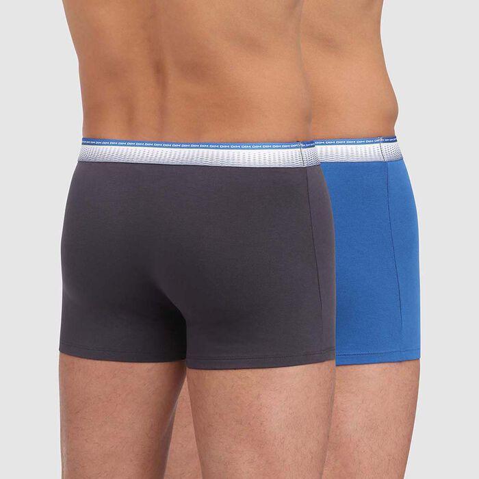 Pack de 2 bóxers gris y azul con cintura ajustada Absolu Fit, , DIM