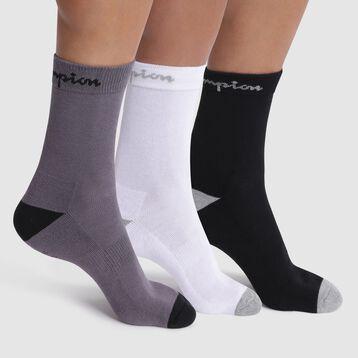 Pack de 3 pares de calcetines negros, blancos y grises -  Champion performance, , DIM