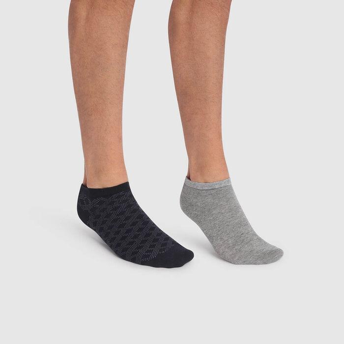 Pack de 2 pares de calcetines tobilleros para hombre estampado de líneas y gris Coton Style, , DIM