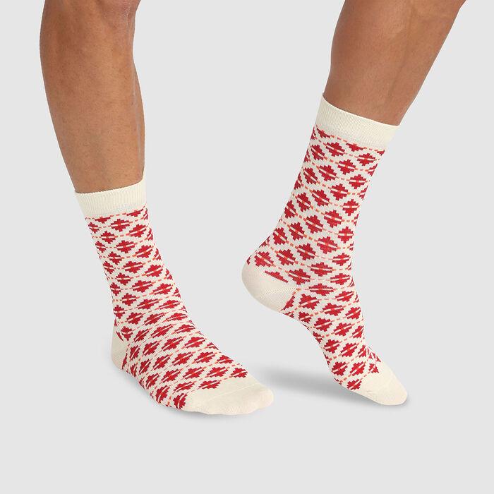 Calcetines unisex de algodón peinado estampado de rombos rojo Color Sox, , DIM