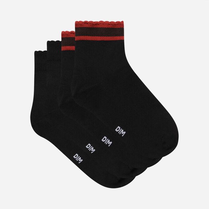 Pack de 2 pares de calcetines de rayas Negro Dim Skin para mujer, , DIM
