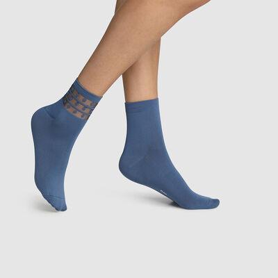 Pack de 2 pares de calcetines bajos para mujer de microfibra y tul de lunares azul Dim Skin, , DIM