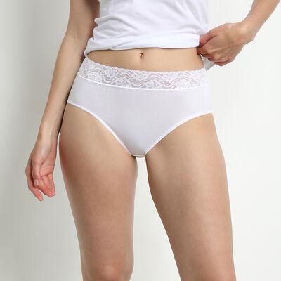 Lote de 2 slips blancos Coton Plus Féminine de talle alto, , DIM