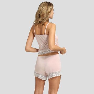 Camiseta  de pijama de algodón modal y encaje rosa Cosy Lady de Dim, , DIM