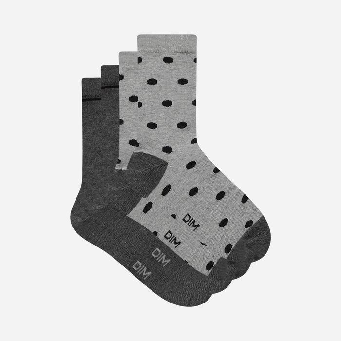 Juego de 2 pares de calcetines de mujer de lunares Gris Claro Coton Style, , DIM
