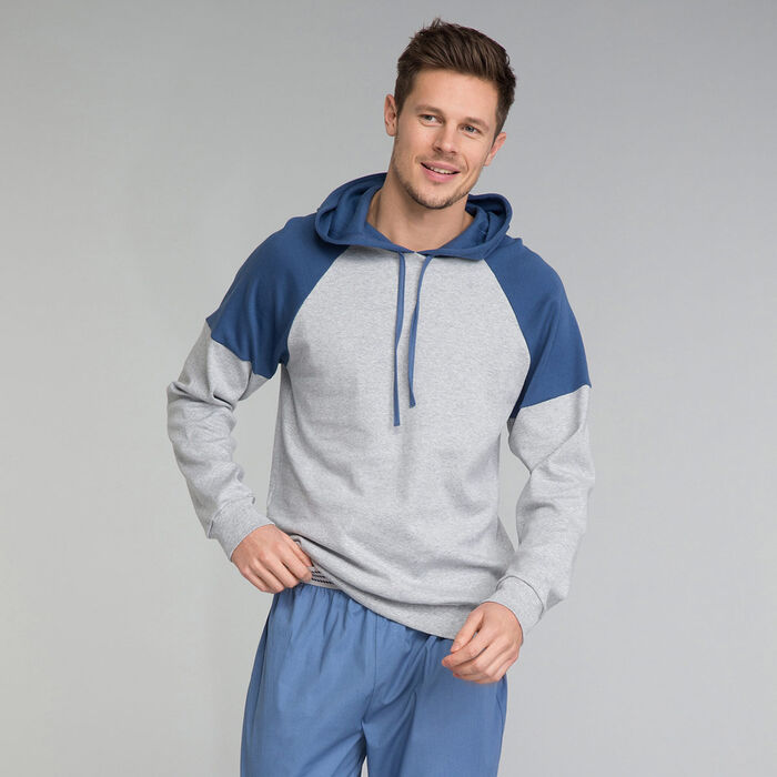 Sudadera gris y azul con capucha - Essential, , DIM