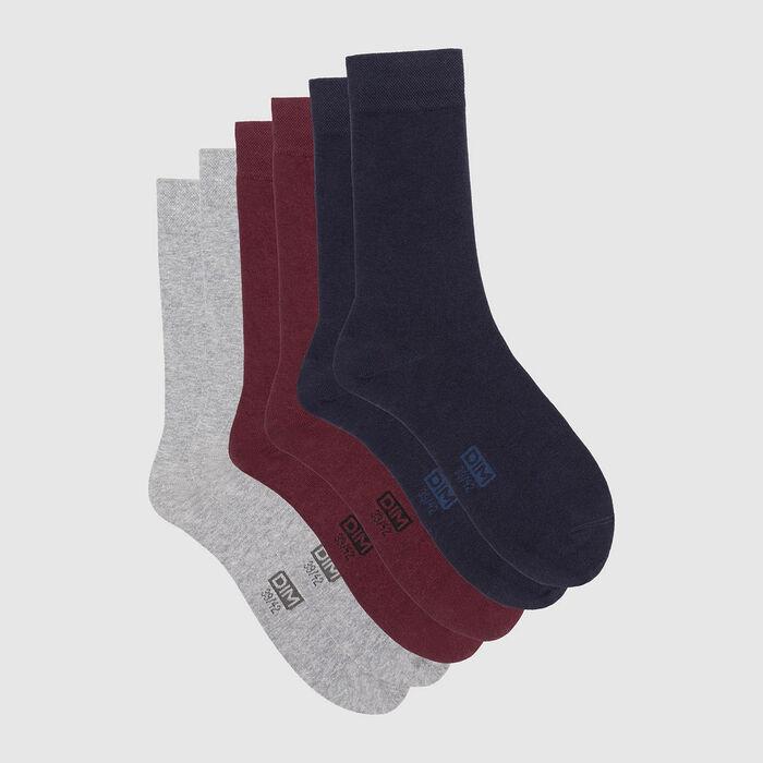 Pack de 3 pares de calcetines para hombre azul, burdeos y gris Basic Coton, , DIM