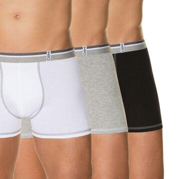 Pack de 3 bóxers blanco, gris jaspeado y negro 100% algodón Long Life, , DIM