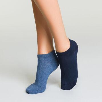 Pack de 2 pares de calcetines tobilleros azul marino y jean Basic Coton, , DIM