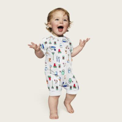 Pelele para bebé con cremallera de algodón elástico blanco estampado jardinero Dim Baby, , DIM