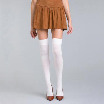 Chaussettes hautes en cotte de mailles ivoire DIM & BASH-DIM