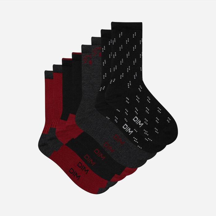 Pack de 4 pares de calcetines de mujer de algodón Negro y Granate Dim, , DIM