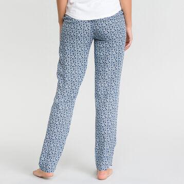 Pantalón largo de pijama con estampado de flores azul - Fashion  , , DIM