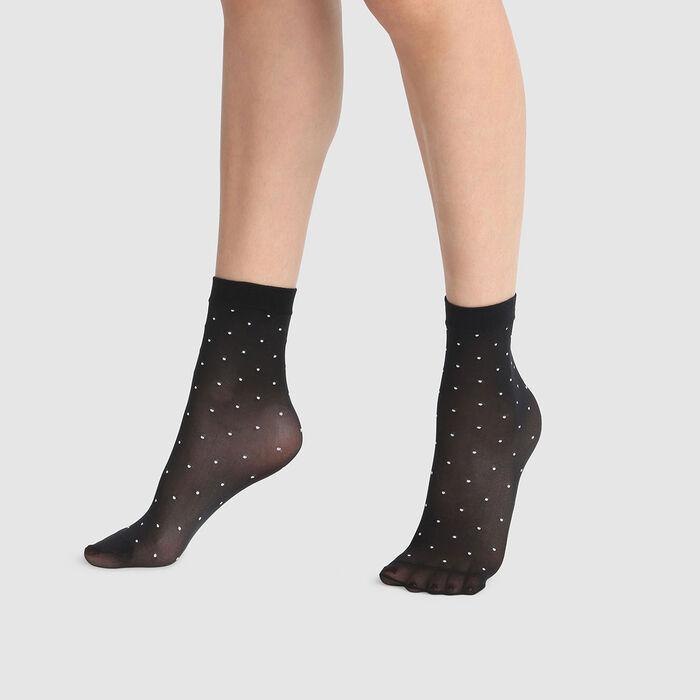 Calcetines bajos de fantasía negros estampado plumetis blanco Dim Style 36D, , DIM