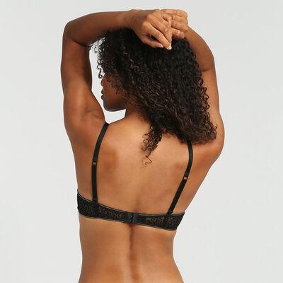 Sujetador triangular push-up de tul y terciopelo negro Chic Line, , DIM
