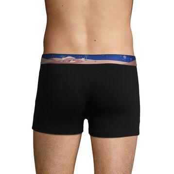 Bóxer negro de algodón elástico con cintura estampada, , DIM