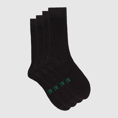 Pack de 2 pares de calcetines altos de algodón bio negro Green by Dim, , DIM