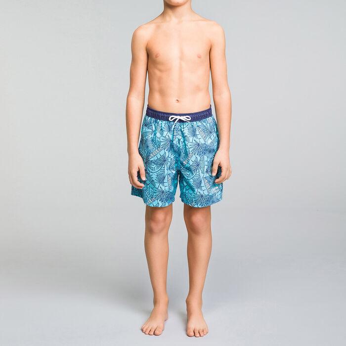 Bañador niño azul con estampado tropical - Bain Tropical, , DIM